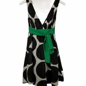 Forever Dress With Black Circles & Green Sash - S